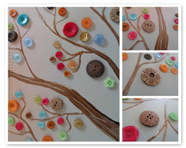 Make this beautiful button tree for your home. This button tree tutorial shows you step by step how to turn an ordinary canvas into colorful wall art!