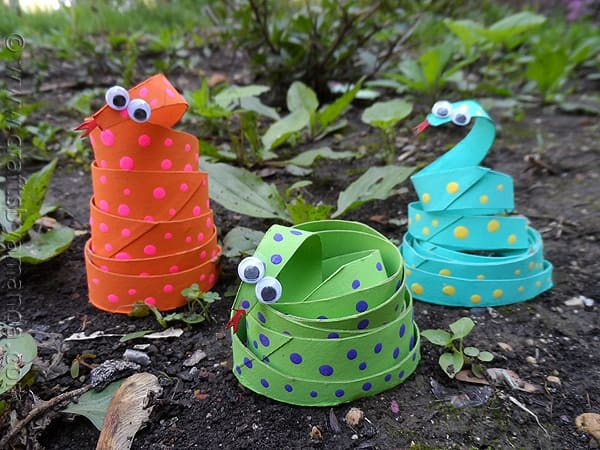 Cardboard Tube Coiled Snakes