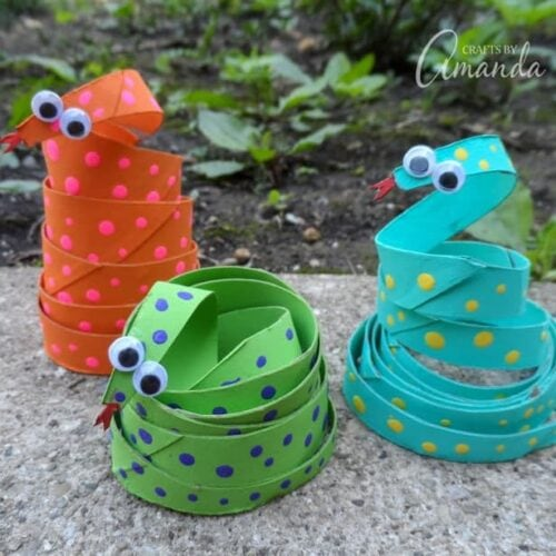 Easy to make Cardboard Tube Coiled Snakes
