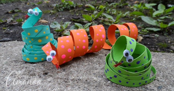 Fun Cardboard Tube Coiled Snakes! A great recycled cardboard tube craft.