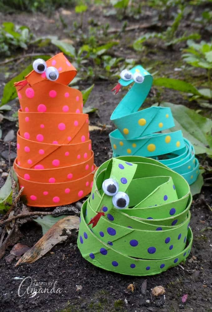 Orange, green and blue Cardboard Tube Coiled Snakes!