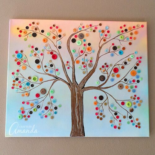 Learn how to make this vibrant button tree - by Amanda Formaro of Crafts by Amanda