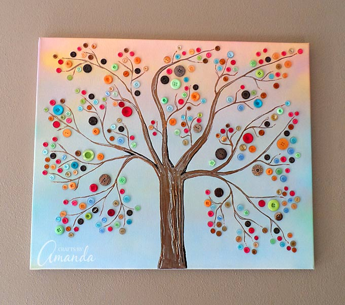 Button Tree A Beautiful Canvas Project Full Of Vibrant Colors