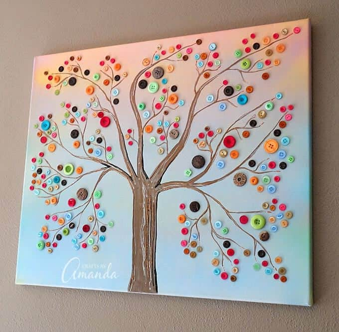 button tree a beautiful canvas project full of vibrant colors. Black Bedroom Furniture Sets. Home Design Ideas