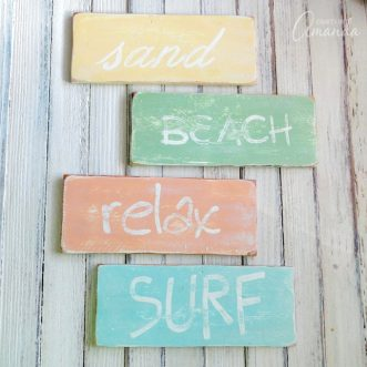 These DIY beach signs are a gorgeous addition to your coastal decor. Make these beach signs yourself with these simple instructions.
