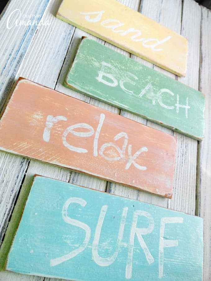 Weathered beach signs hanging