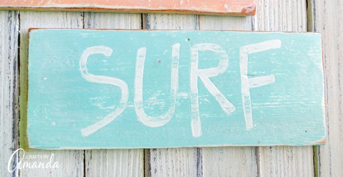 Blue SURF beach sign