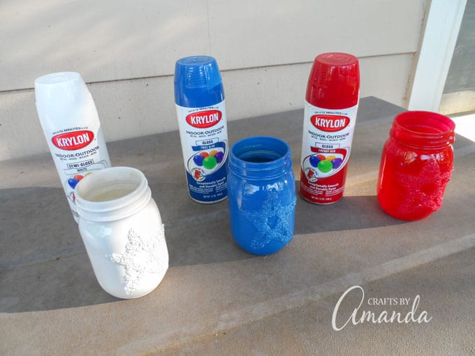Spray painting the patriotic luminaries