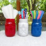 Make these simple patriotic luminaries for your Fourth of July BBQ! Use them as luminaries or utensil holders!