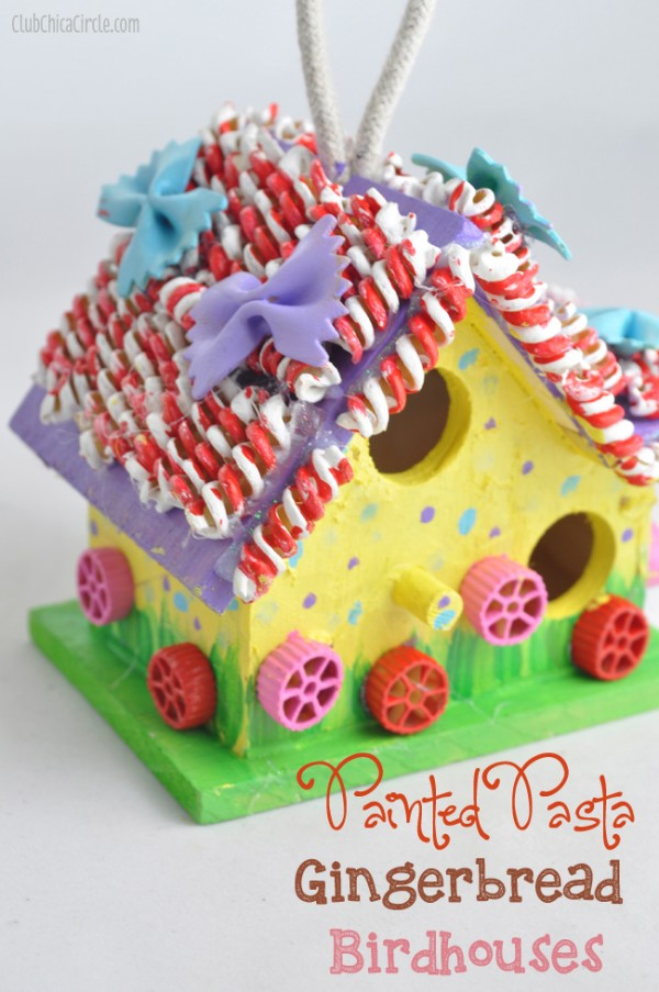 Painted-Pasta-Gingerbread-Birdhouse-Holiday-Tween-Craft