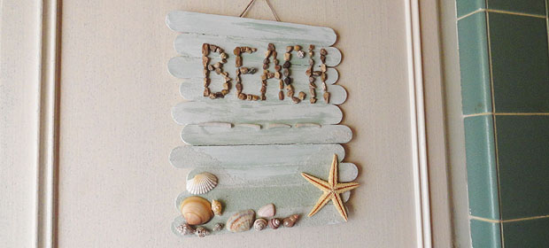 Craft Stick Beach Plaque