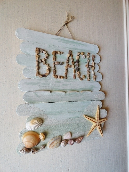 Beach Craft Ideas For Kids Part - 18: Craft Stick Beach Plaque
