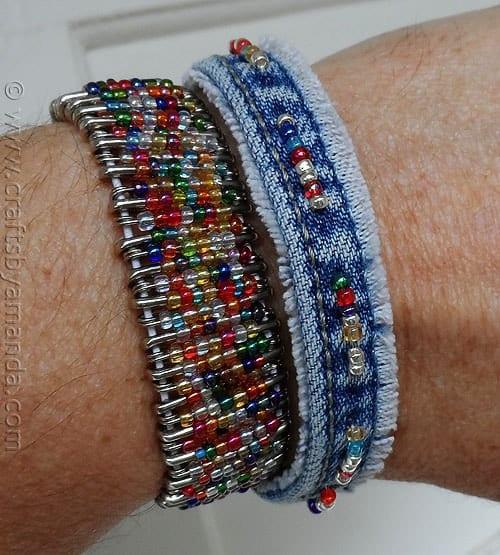 Recycled Denim Beaded Bracelet