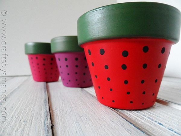 Strawberry terra cotta pots crafts by amanda