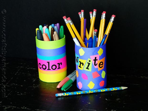 pencil holders, back to school - craftsbyamanda.com