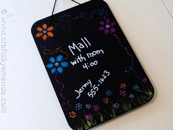 flower power glitter chalkboard for girls CraftsbyAmanda.com