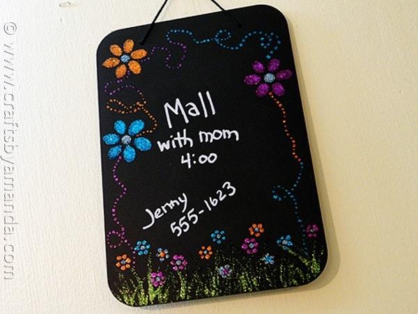 Glittery flower power chalkboard - CraftsbyAmanda.com