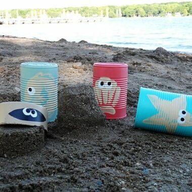 Sea creature sand castle cans - CraftsbyAmanda.com