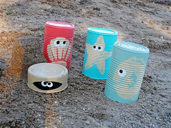 Cute sea creature sand castle cans -- craftsbyamanda.com