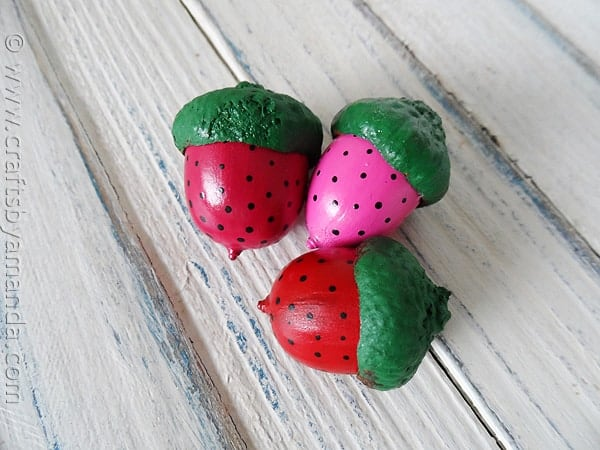 strawberry painted acorn magnets