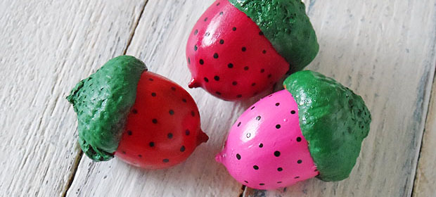acorns painted like strawberries