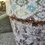 Vintage Crackled Flower Pot