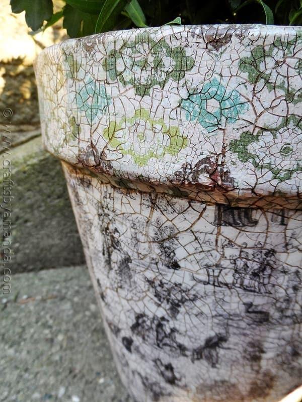 Vintage Crackled Flower Pot by CraftsbyAmanda.com