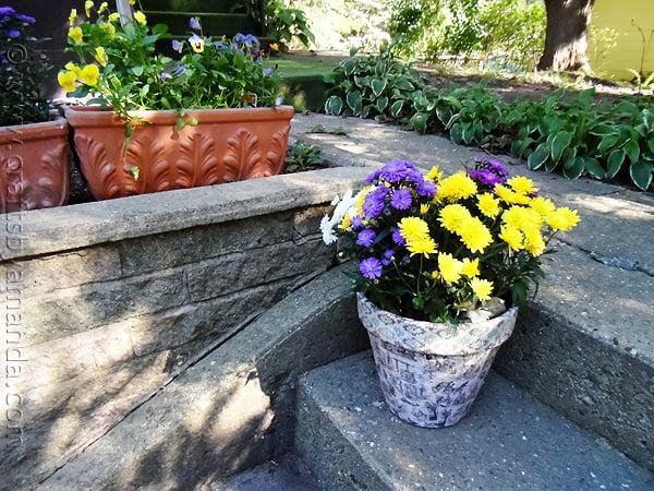 Vintage Crackled Flower Pot - CraftsbyAmanda.com