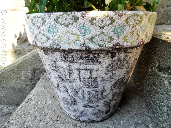Vintage Crackled Flower Pot by CraftsbyAmanda.com