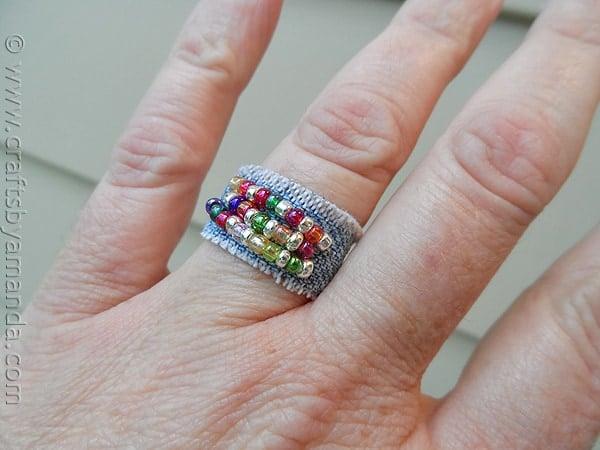 Denim Beaded Ring - CraftsbyAmanda.com