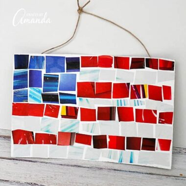 Made from recycled magazines, this magazine mosaic flag is a fun art activity that kids will love. Showing your patriotism is not just reserved for adults, kids love showing off their USA pride too!