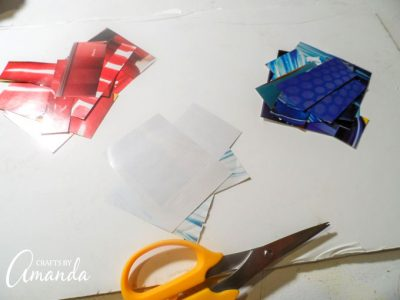 Supplies you'll need for a magazine mosaic flag