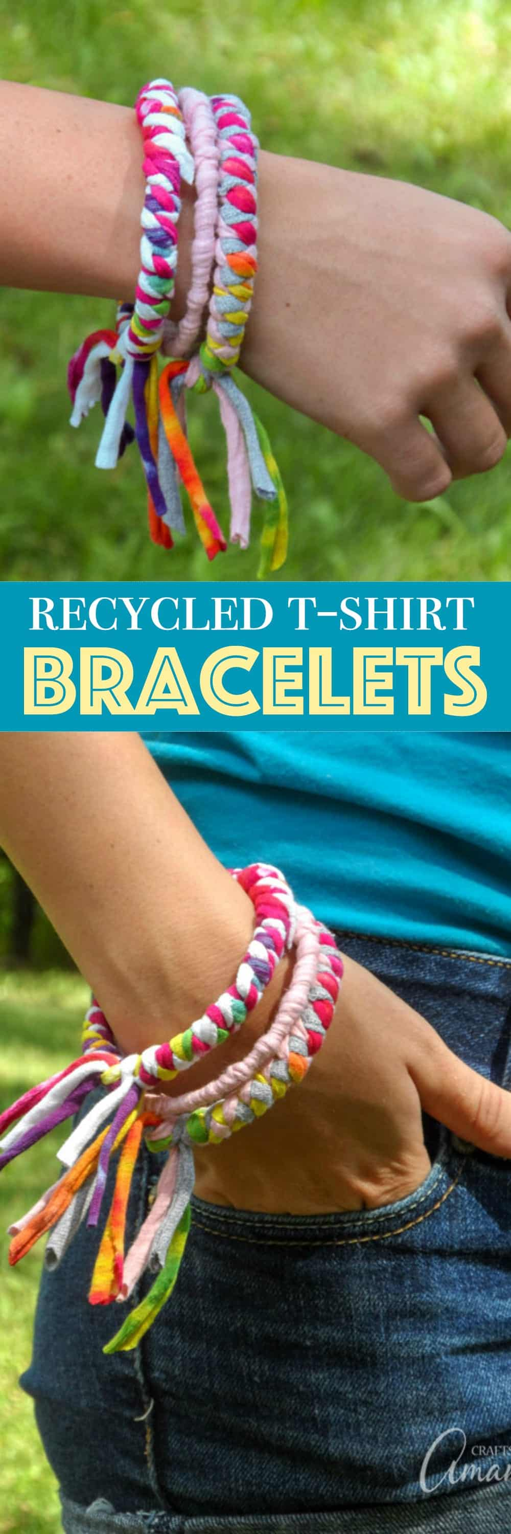 These colorful t-shirt bracelets are an easy to make recycled craft project and are perfect for teenagers or preteens! All you need are inexpensive bangle bracelets and some old t-shirts to make these pretty fashion statements.