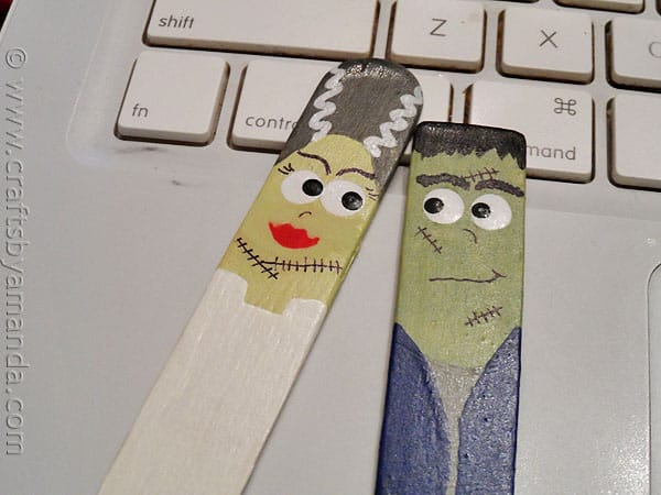 Craft Stick Frankenstein and Bride - CraftsbyAmanda.com
