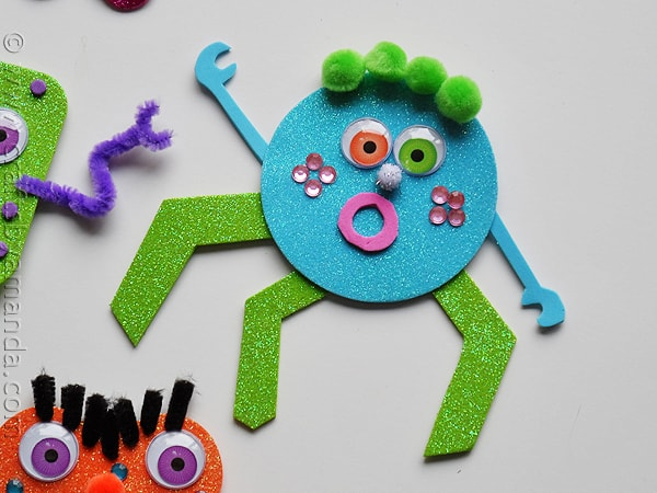 glitter foam monsters BLUE - CraftsbyAmanda.com