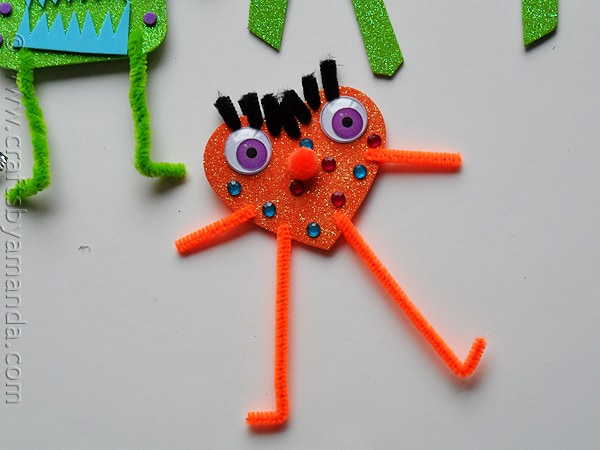 glitter foam monsters ORANGE - CraftsbyAmanda.com
