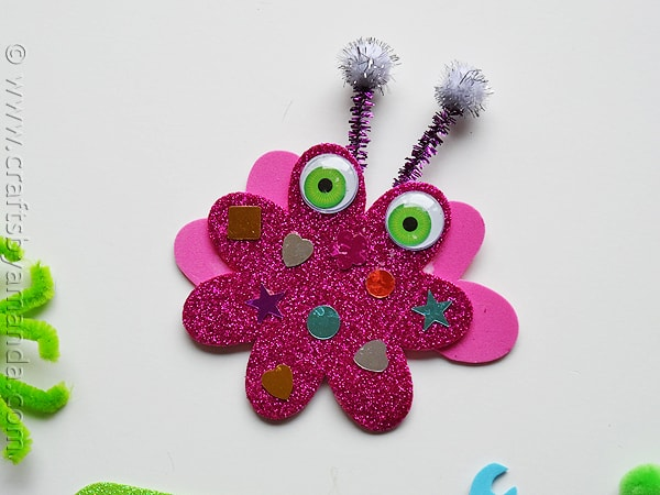 glitter foam monsters PINK - CraftsbyAmanda.com