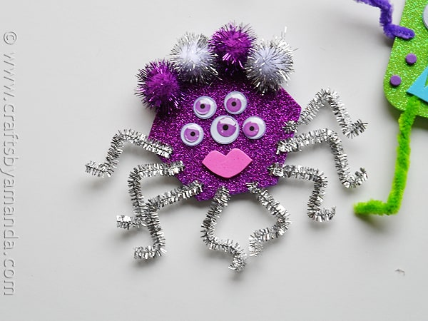 glitter foam monsters PURPLE - CraftsbyAmanda.com