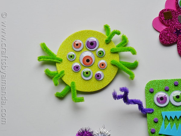 glitter foam monsters YELLOW - CraftsbyAmanda.com