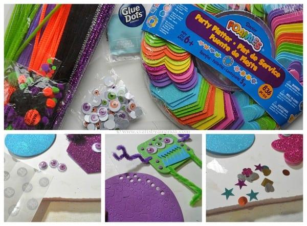 Glitter Foam Monster supplies and steps - CraftsbyAmanda.com