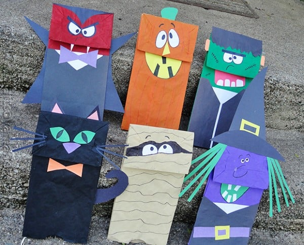 Halloween craft paper bag puppets crafts by amanda for Brown paper bag crafts for preschoolers