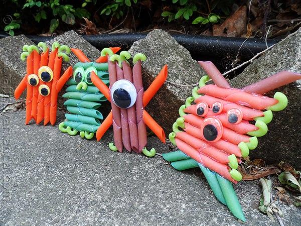 Colorful Pasta Monsters  by CraftsbyAmanda.com