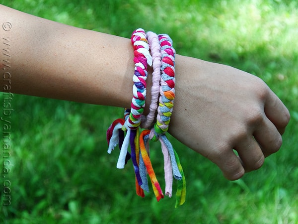 Make Bracelets from Recycled T-shirts - CraftsbyAmanda.com