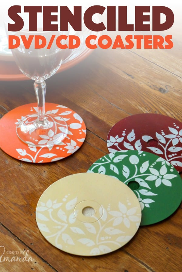 DIY Stenciled DVD/CD Coasters