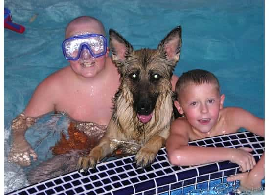Angel in the pool with the boy - 2004