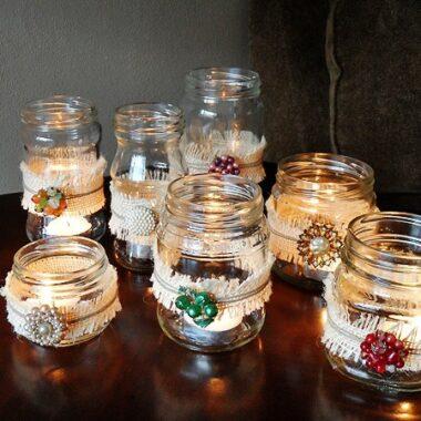 Bleached Burlap Vintage Jewelry Luminaries - CraftsbyAmanda.com