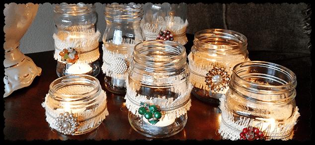 Bleached Burlap Vintage Jewelry Luminaries