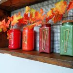 Paint Coated Jar Vases for Fall