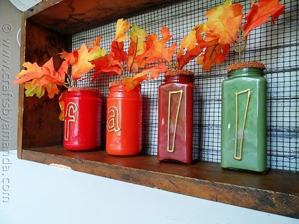 Paint Coated Jar Vases For Fall   CraftsbyAmanda.com