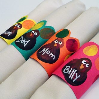 Fingerprint Turkey Napkin Rings - CraftsbyAmanda.com